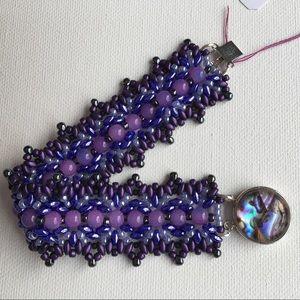 Woven bead bracelet w/ Abalone clasp